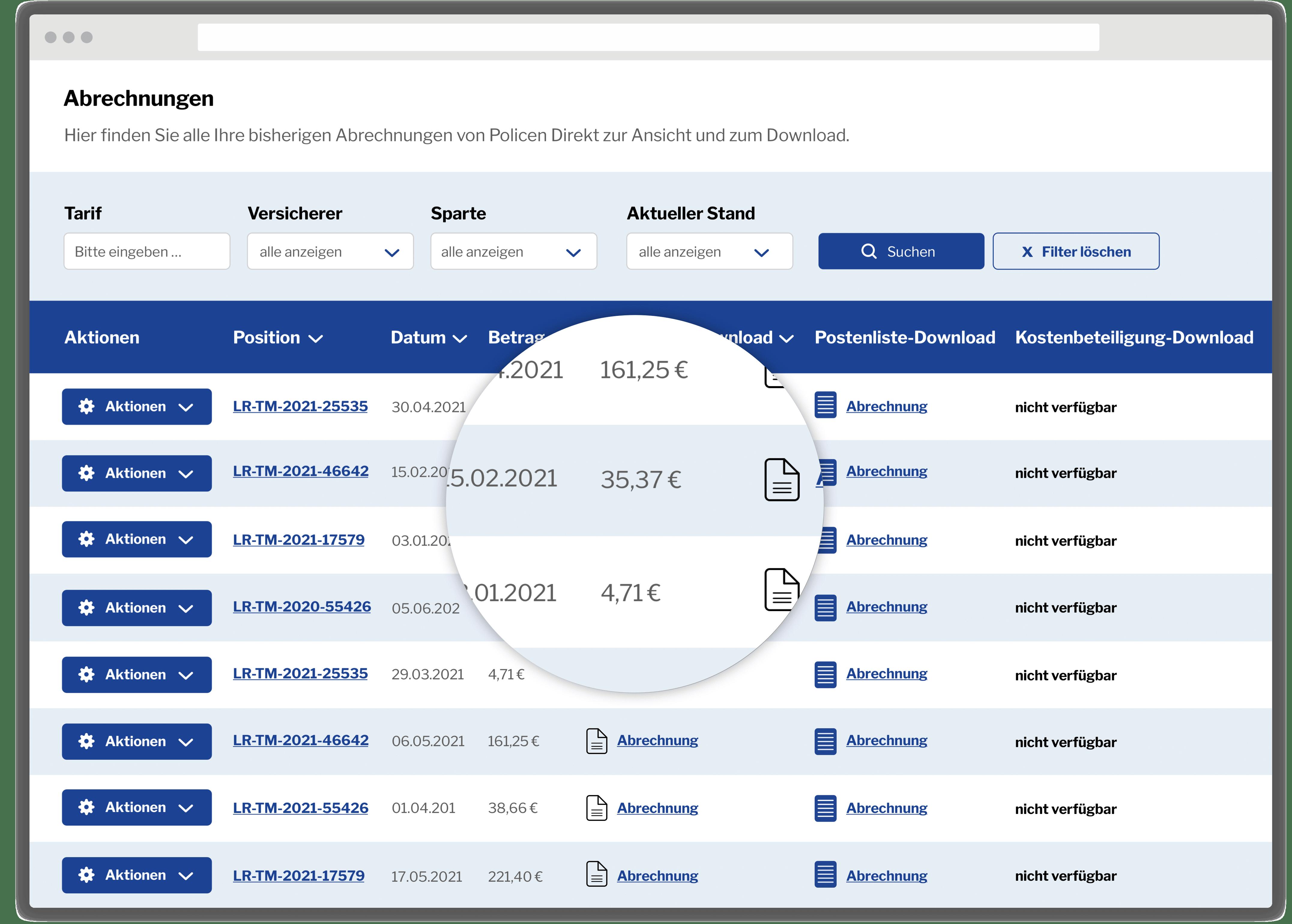 Abrechungen Makler-Portal